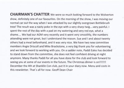 Chairmans Chatter Oct 2021…….Geoff Says